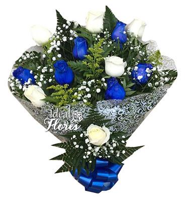 1140 Buquê Blue & White Roses
