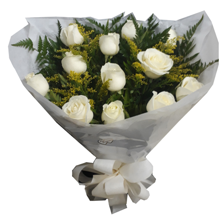 1613 Buquê com 1 Dúzia de Rosas Brancas