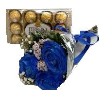 2081 Mini Buquê Blue + Ferrero Rocher com 12 Unidades