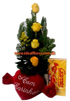 367 Combo Ikebana + Chocolate + Pelúcia