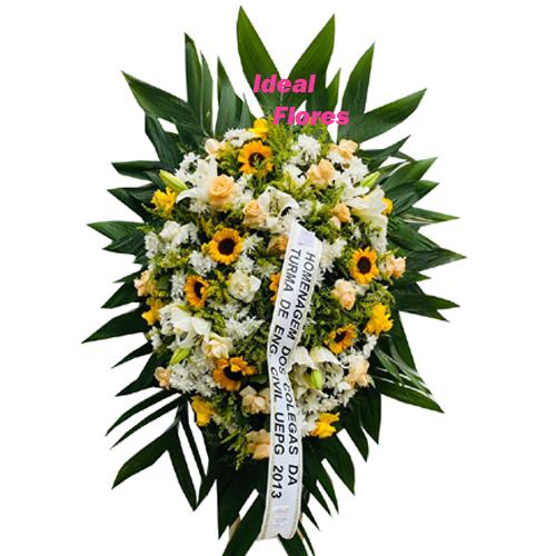 4273 Coroa de Flor Com Girassol Entrega Grátis em Curitiba