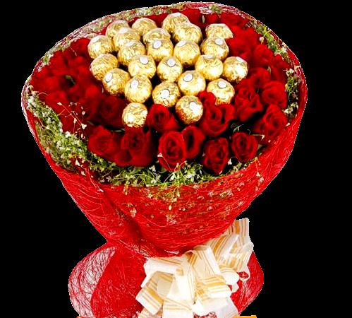 4881 MEGA TOP com 40 Rosas Vermelhas e Ferrero Rocher