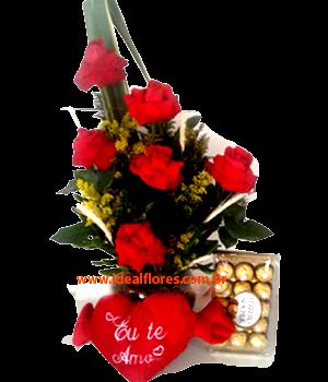 5437 Kit Presente Flores, chocolate e pelúcia